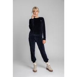 tekstylia Damskie Topy / Bluzki Lalupa LA011 Velvet Reglan Sleeve Pullover Top - granatowy