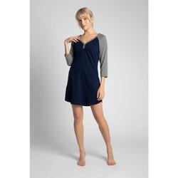 tekstylia Damskie Piżama / koszula nocna Lalupa LA018 Cotton Colourblock Sleepshirt - ecru