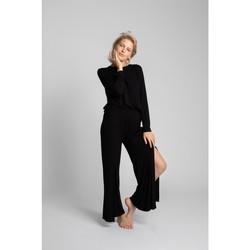 tekstylia Damskie Spodnie z lejącej tkaniny / Alladynki Lalupa LA026 Spodnie z wiskozy z wysokim stanem - czarne