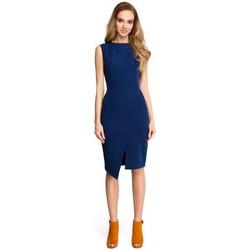 tekstylia Damskie Sukienki krótkie Style S105 Faux-wrap sleeveless dress - navy blue