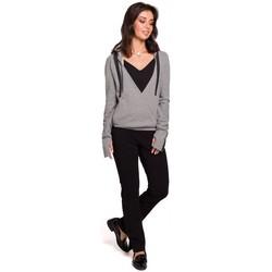 tekstylia Damskie Bluzy Be B127 Hooded wrap front pullover - grey