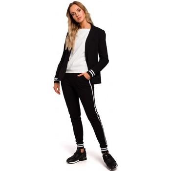 tekstylia Damskie Marynarki Moe M459 Blazer with striped ribbed cuffs - black