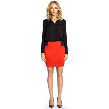 tekstylia Damskie Spódnice Moe M042 Plain mini skirt with elastic waist band - red
