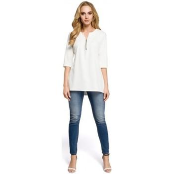 tekstylia Damskie Topy / Bluzki Moe M278 Tunic blouse with zipped neck - ecru