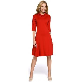 tekstylia Damskie Sukienki krótkie Moe M279 Dress with turtle neck - red