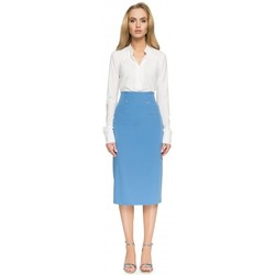 tekstylia Damskie Spódnice Style S065 Pencil midi skirt - blue