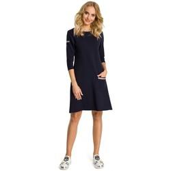 tekstylia Damskie Sukienki Moe M343 Trapeze dress with stripe detailing - navy blue
