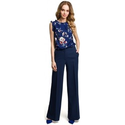 tekstylia Damskie Spodnie z lejącej tkaniny / Alladynki Moe M378 Wide leg trousers - navy blue