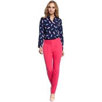 tekstylia Damskie Spodnie z lejącej tkaniny / Alladynki Moe M303 Straight leg trousers - pink