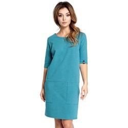 tekstylia Damskie Sukienki krótkie Be B033 Box shift dress - emerald
