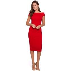 tekstylia Damskie Sukienki krótkie Makover K001 Sukienka z dzianiny na ramiączkach - czerwona