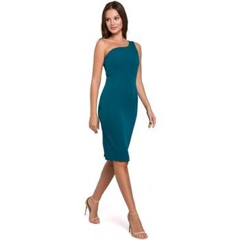 tekstylia Damskie Sukienki krótkie Makover K003 Sukienka sheath z dekoltem na jedno ramię - ocean blue