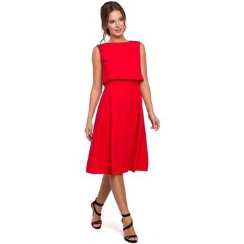 tekstylia Damskie Sukienki Makover K005 Fit & flare dress with open back - red