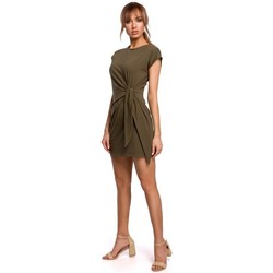 tekstylia Damskie Sukienki krótkie Moe M508 Mini dress with a knot - khaki