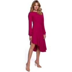 tekstylia Damskie Sukienki długie Makover K077 Sukienka z falbanką flamenco - śliwka