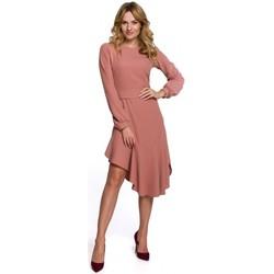 tekstylia Damskie Sukienki długie Makover K077 Sukienka z falbanką flamenco - róża
