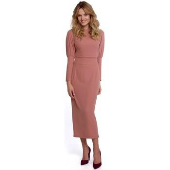 tekstylia Damskie Sukienki długie Makover K079 Sukienka o długości midi z rozcięciem na plecach - róża
