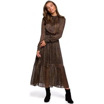 tekstylia Damskie Sukienki długie Style S239 Ołówkowa sukienka z wiązanym paskiem - czarna