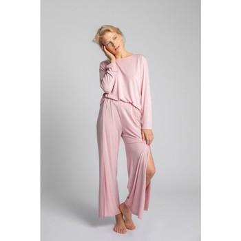 tekstylia Damskie Piżama / koszula nocna Lalupa LA026 Spodnie z wiskozy z wysokim stanem - różowe