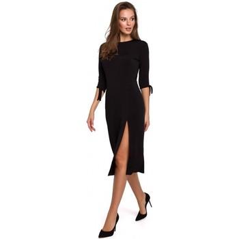 tekstylia Damskie Sukienki krótkie Makover K007 Sukienka dzianinowa z wiązanymi rękawami - czarna