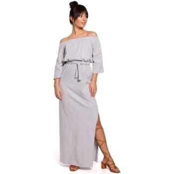 tekstylia Damskie Sukienki Be B146 Sukienka maxi z odkrytymi ramionami - szara