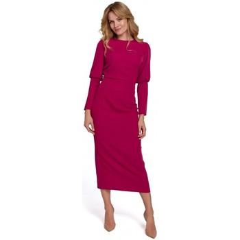 tekstylia Damskie Sukienki długie Makover K079 Sukienka o długości midi z rozcięciem na plecach - śliwka
