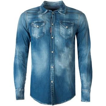 tekstylia Męskie Koszule z długim rękawem Dsquared  Niebieski