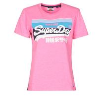tekstylia Damskie T-shirty z krótkim rękawem Superdry VL CALI TEE 181 Różowy