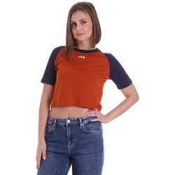 tekstylia Damskie T-shirty z krótkim rękawem Fila 687919 Pomarańczowy