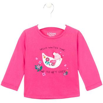tekstylia Dziewczynka T-shirty z długim rękawem Losan 026-1008AL Różowy