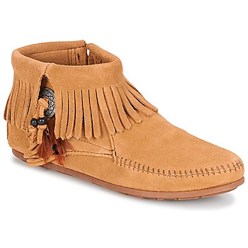 Buty Damskie Buty za kostkę Minnetonka CONCHO FEATHER SIDE ZIP BOOT Camel