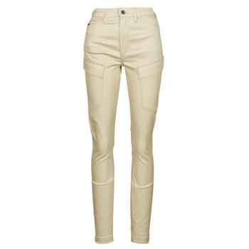 tekstylia Damskie Spodnie bojówki G-Star Raw HIGH G-SHAPE CARGO SKINNY PANT WMN Beżowy