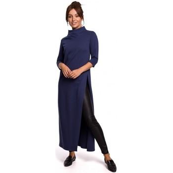 tekstylia Damskie Tuniki Be B163 Tunika z wysokim rozcięciem - niebieski