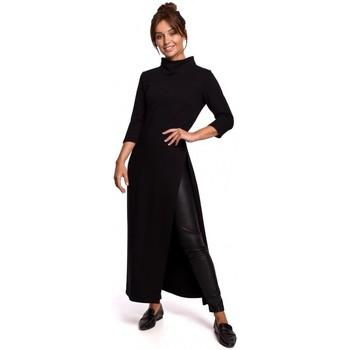 tekstylia Damskie Tuniki Be B163 High slit tunic - black