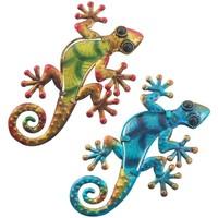 Dom Statuetki i figurki  Signes Grimalt Mała Jaszczurka Set 2 Jednostki Multicolor