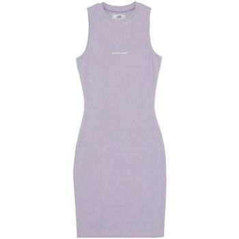 tekstylia Damskie Sukienki krótkie Sixth June Robe femme  Rib Essential bleu lila