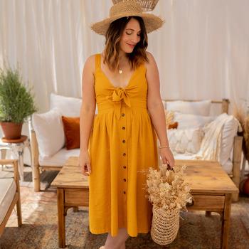 tekstylia Damskie Sukienki długie Céleste CAMOMILLE Żółty