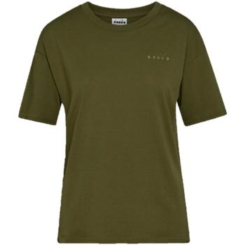 tekstylia Damskie T-shirty z krótkim rękawem Diadora Chromia Oc Zielony