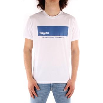 tekstylia Męskie T-shirty z krótkim rękawem Blauer 21SBLUH02132 Biały