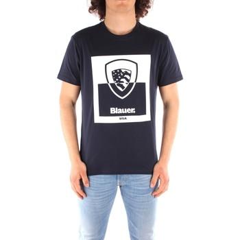 tekstylia Męskie T-shirty z krótkim rękawem Blauer 21SBLUH02131 Niebieski