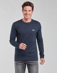 tekstylia Męskie T-shirty z długim rękawem BOSS TOGN CURVED Marine