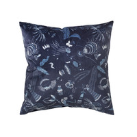 Dom Poszewki na poduszki Broste Copenhagen BELL FLOWER Niebieski / Nuit