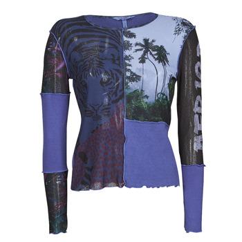 tekstylia Damskie T-shirty z długim rękawem Desigual PATCHAFRICA Niebieski