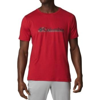 tekstylia Męskie T-shirty z krótkim rękawem Columbia Tech Trail Graphic Tee Czerwony