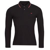 tekstylia Męskie Koszulki polo z długim rękawem Emporio Armani 8N1FB5 Czarny
