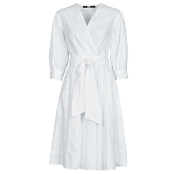 tekstylia Damskie Sukienki krótkie Karl Lagerfeld LOGO EMROIDERED SHIRT DRESS Biały