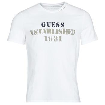 tekstylia Męskie T-shirty z krótkim rękawem Guess WORKFOR CN SS TEE Biały