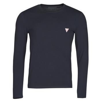 tekstylia Męskie T-shirty z długim rękawem Guess CN LS CORE TEE Marine