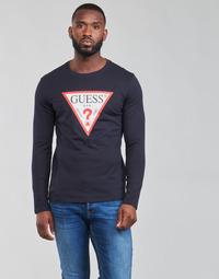 tekstylia Męskie T-shirty z długim rękawem Guess CN LS ORIGINAL LOGO TEE Marine