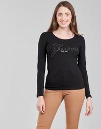 tekstylia Damskie T-shirty z długim rękawem Guess LS CN RAISA TEE Czarny
